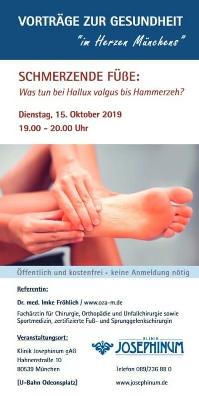 Dr. Fröhlich OZA Vortrag Josephinum Hallux valgus Hammerzehen 10-2019 Flyer