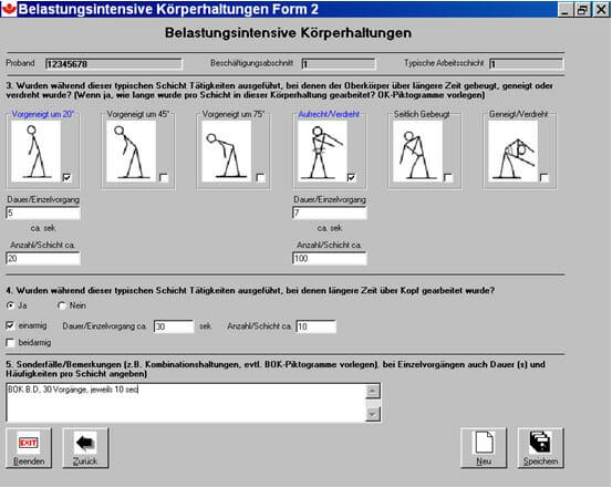 Abb. 1: Computerprogramm zur Erhebung der Wirbelsäulenbelastung
