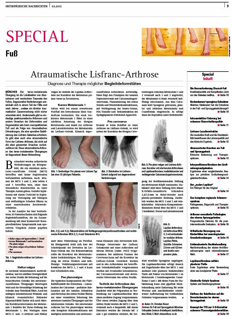 Veröffentlichung in Orthopädische Nachrichten, Ausgabe 03.2015 Zeitung für Orthopädie und Unfallchirurgie